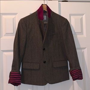 {Gap} Academy blazer, brown w/ fuschsia and navy